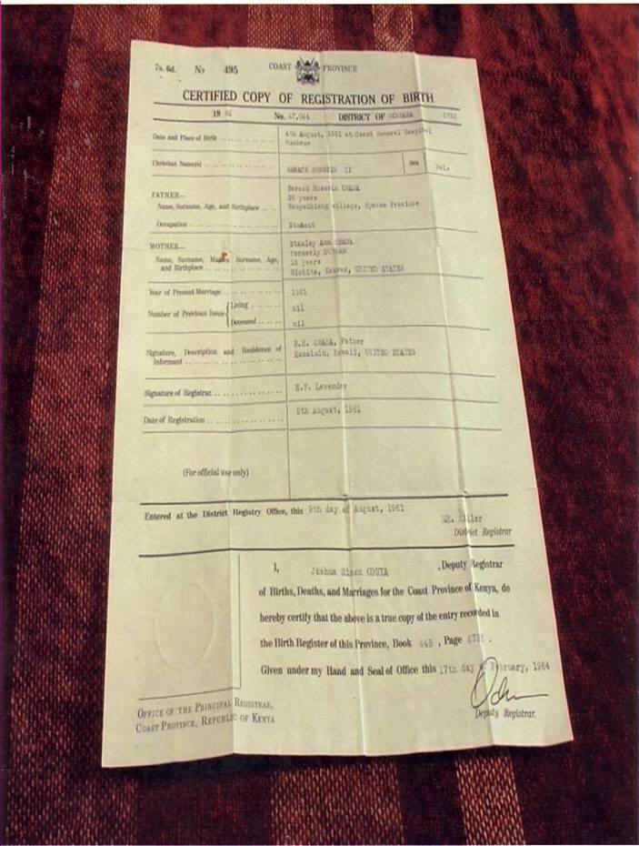 BARACK OBAMA'S KENYAN BIRTH CERTIFICATE